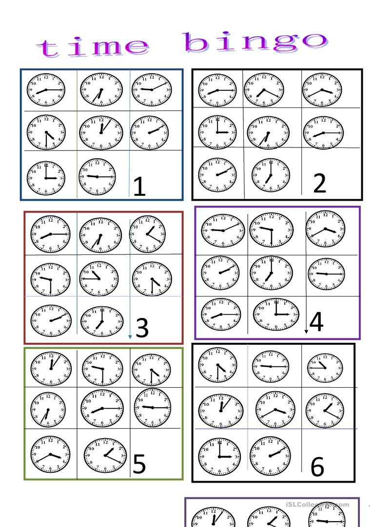 Time Bingo - English Esl Worksheets For Distance Learning