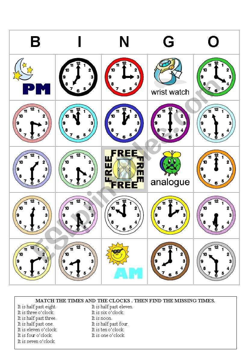 Time Bingo - Esl Worksheetstoryteller