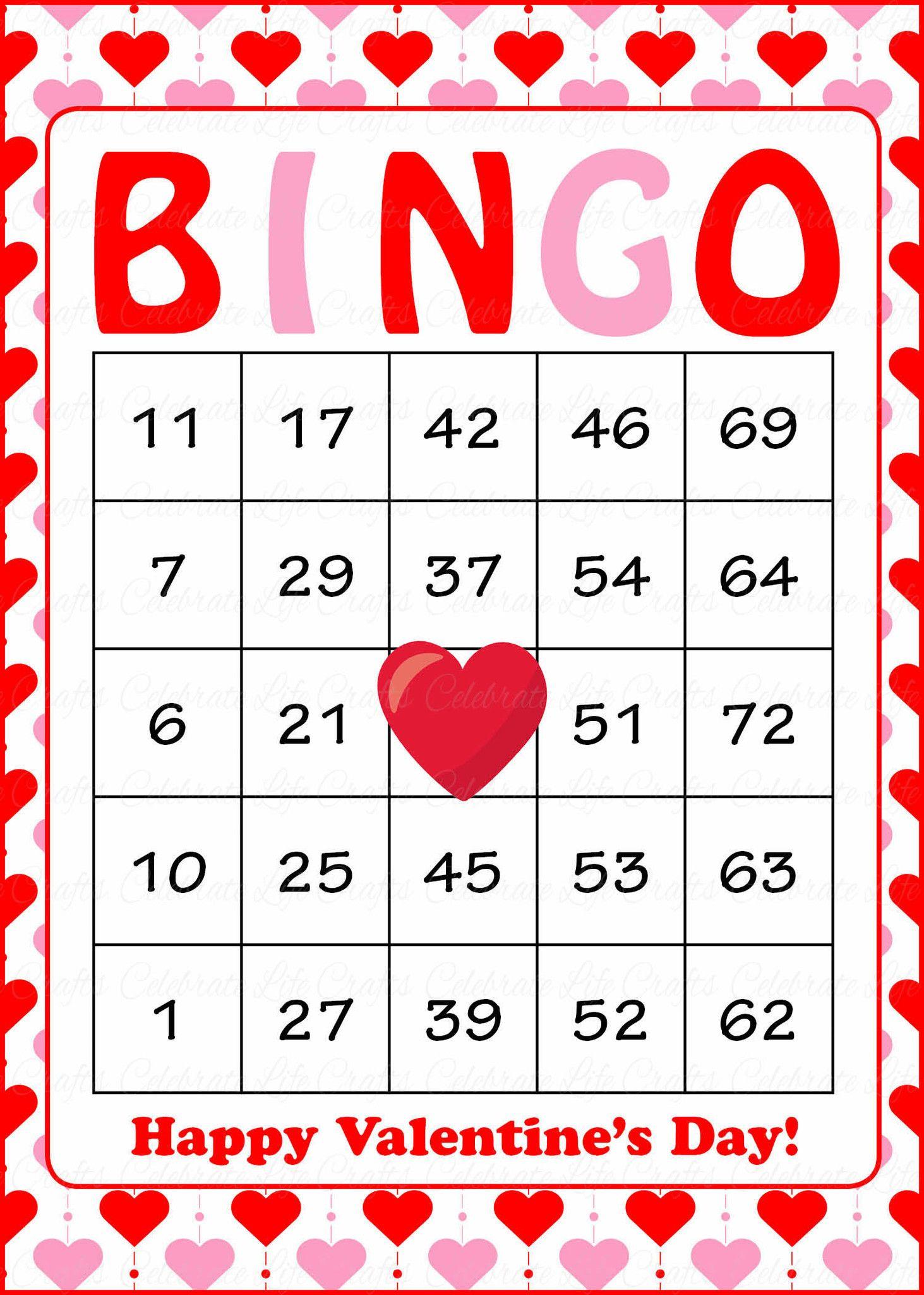 Valentine's Bingo Cards - Printable Download - Prefilled