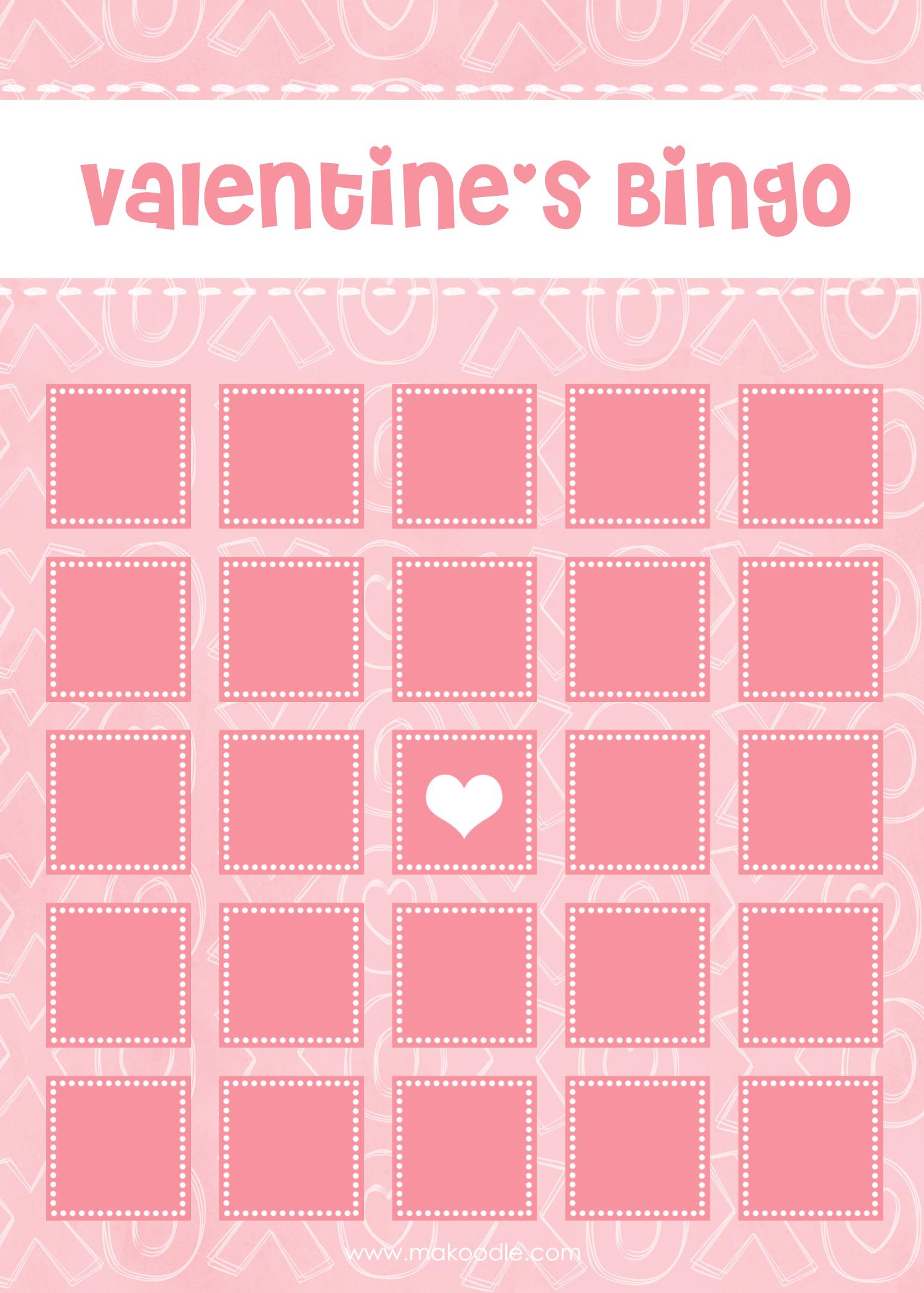 Valentine's Bingo - Free Printable Download - Makoodle