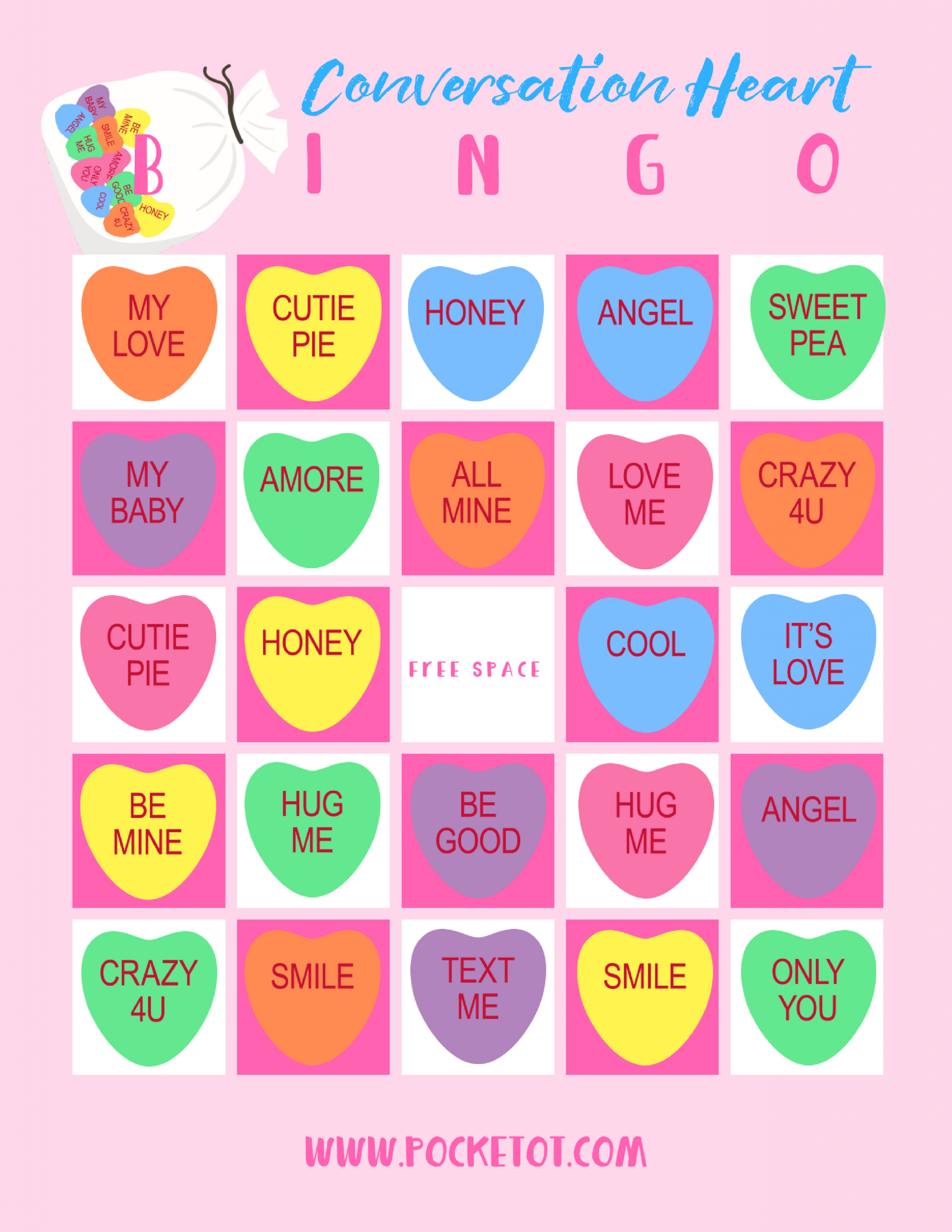 Valentine's Day Conversation Heart Bingo Game | Heart Bingo