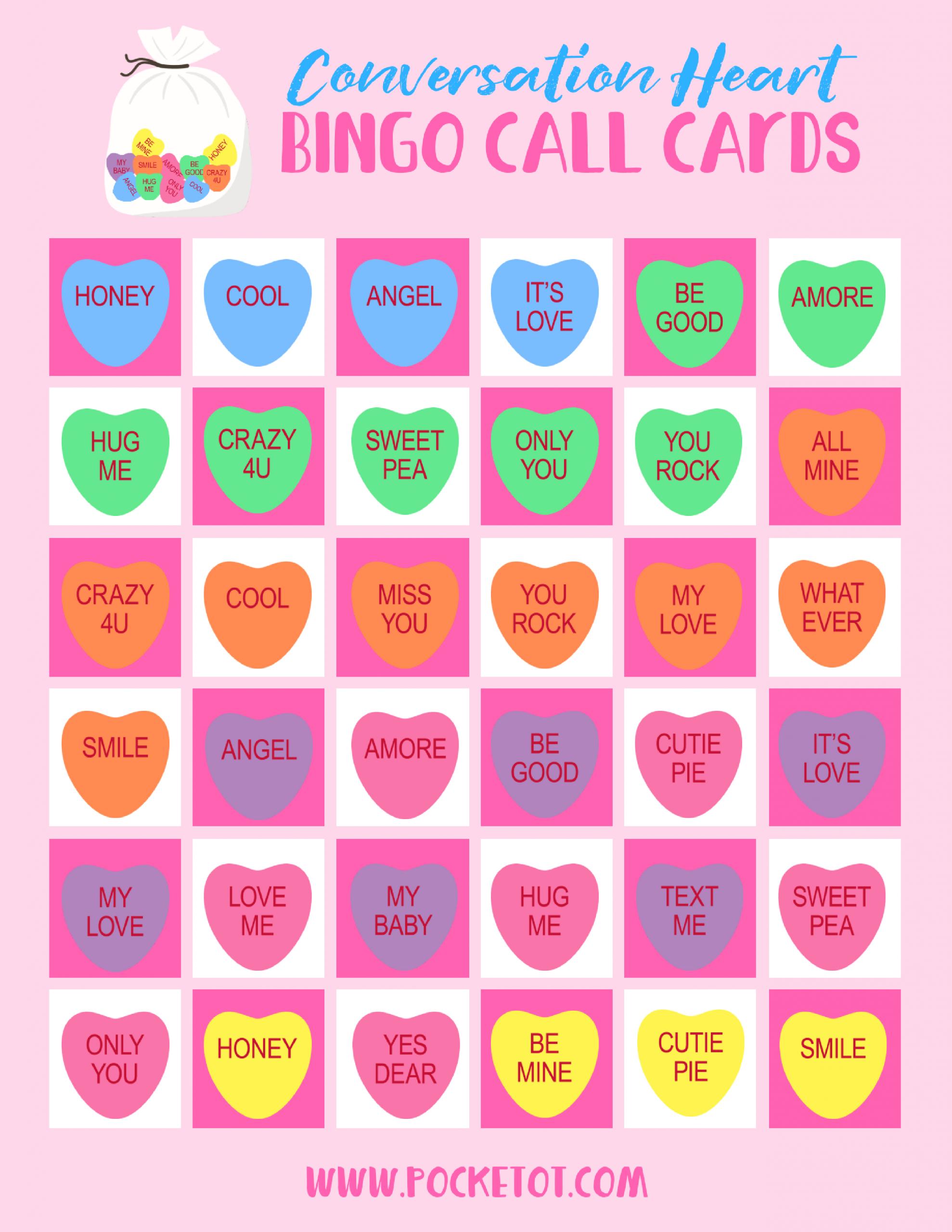Valentine's Day Conversation Heart Bingo Game   Pocket
