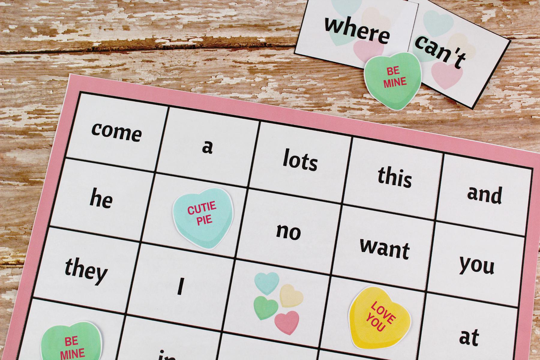 Valentine's Day Sight Word Bingo Free Printable Package