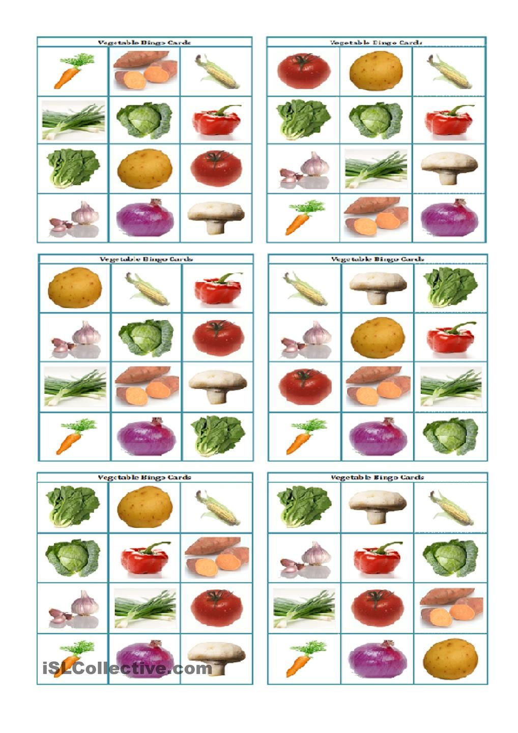 Vegetable Bingo Flashcards | Vegetables, Bingo, Fruit Printables