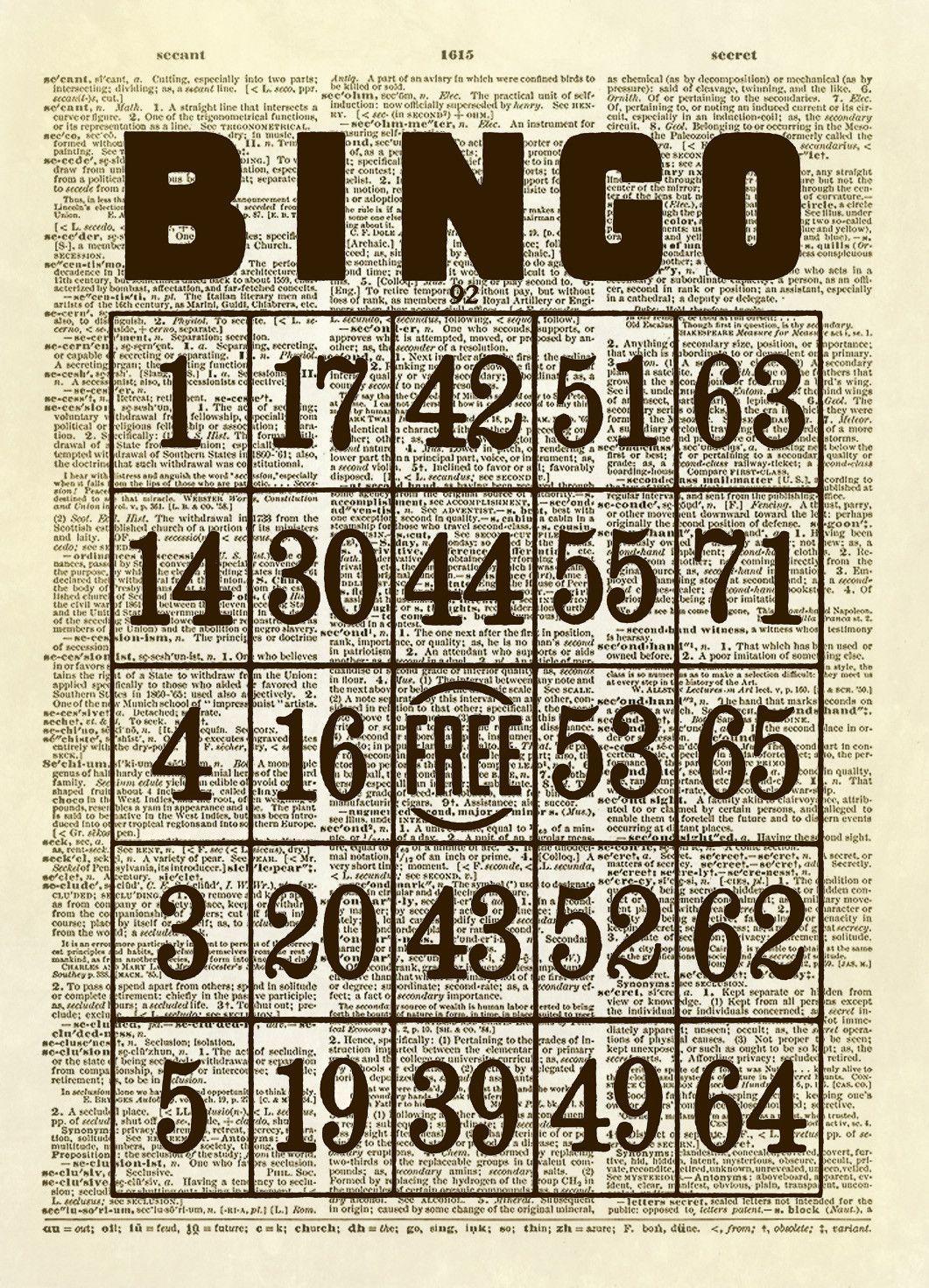 Vintage Bingo Card Dictionary Art Print - Kaarten, Papier En