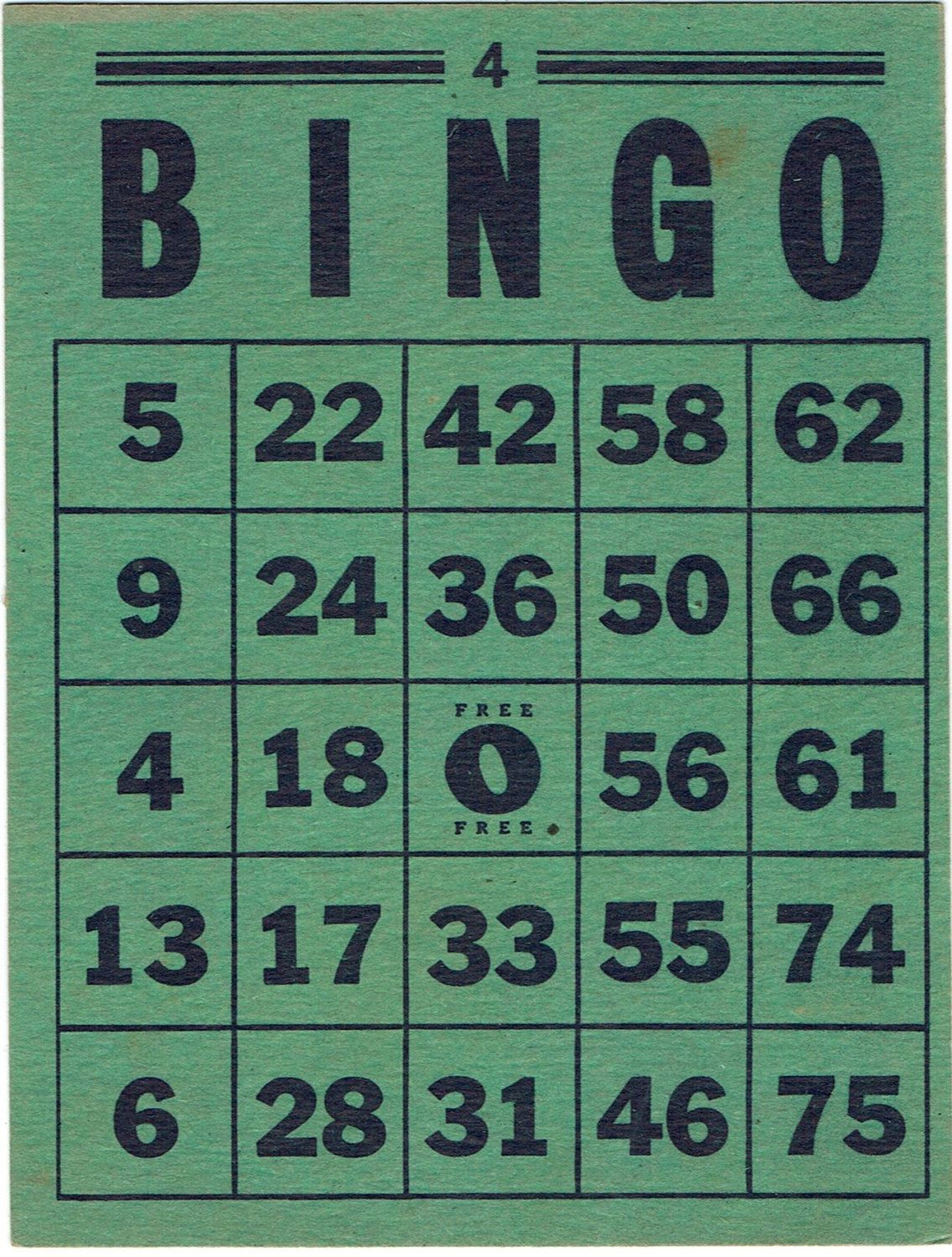 Vintage Bingo Card - Green And Blackassemblager On Etsy
