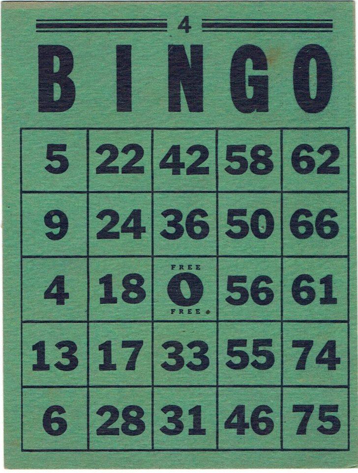 Vintage Bingo Card Printable