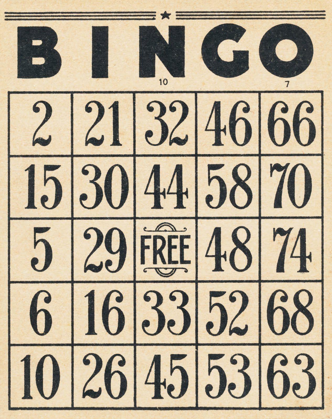 Vintage Bingo Cards And 10-Cent Tickets | Vintage Printables
