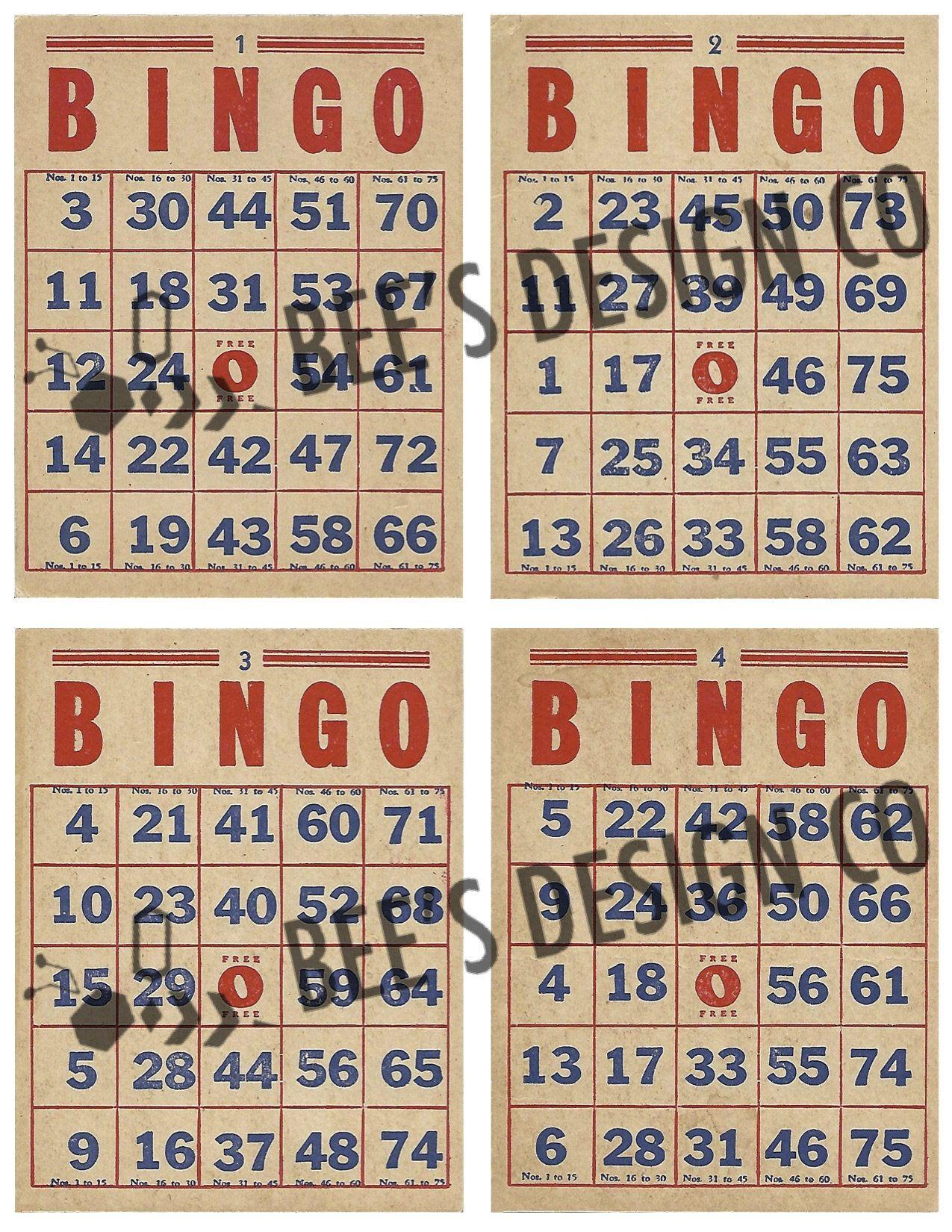 Vintage Bingo Cards/ Printable Downloadable/ Old Game