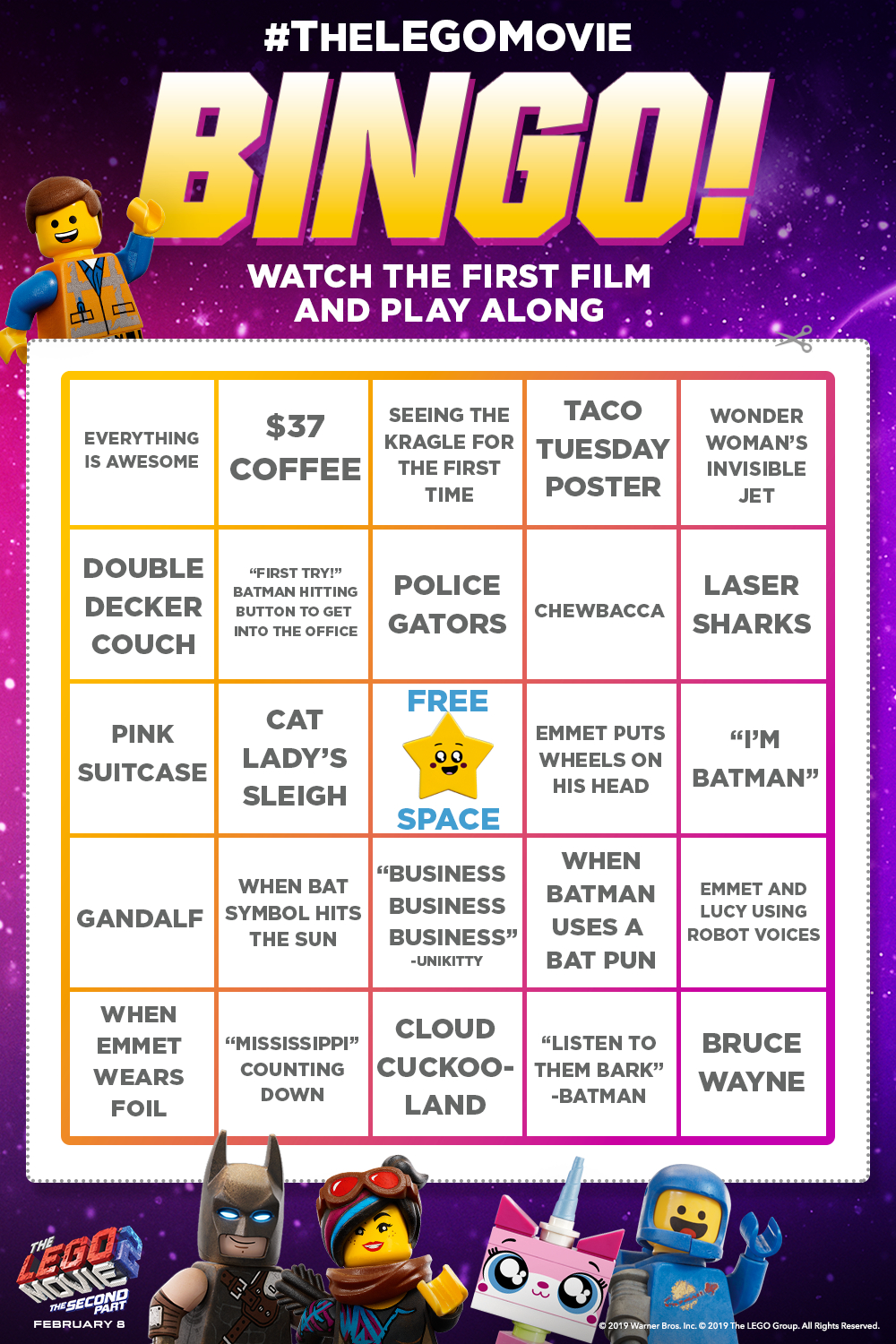 Watch The Lego Movie And Play Along With This Bingo Card