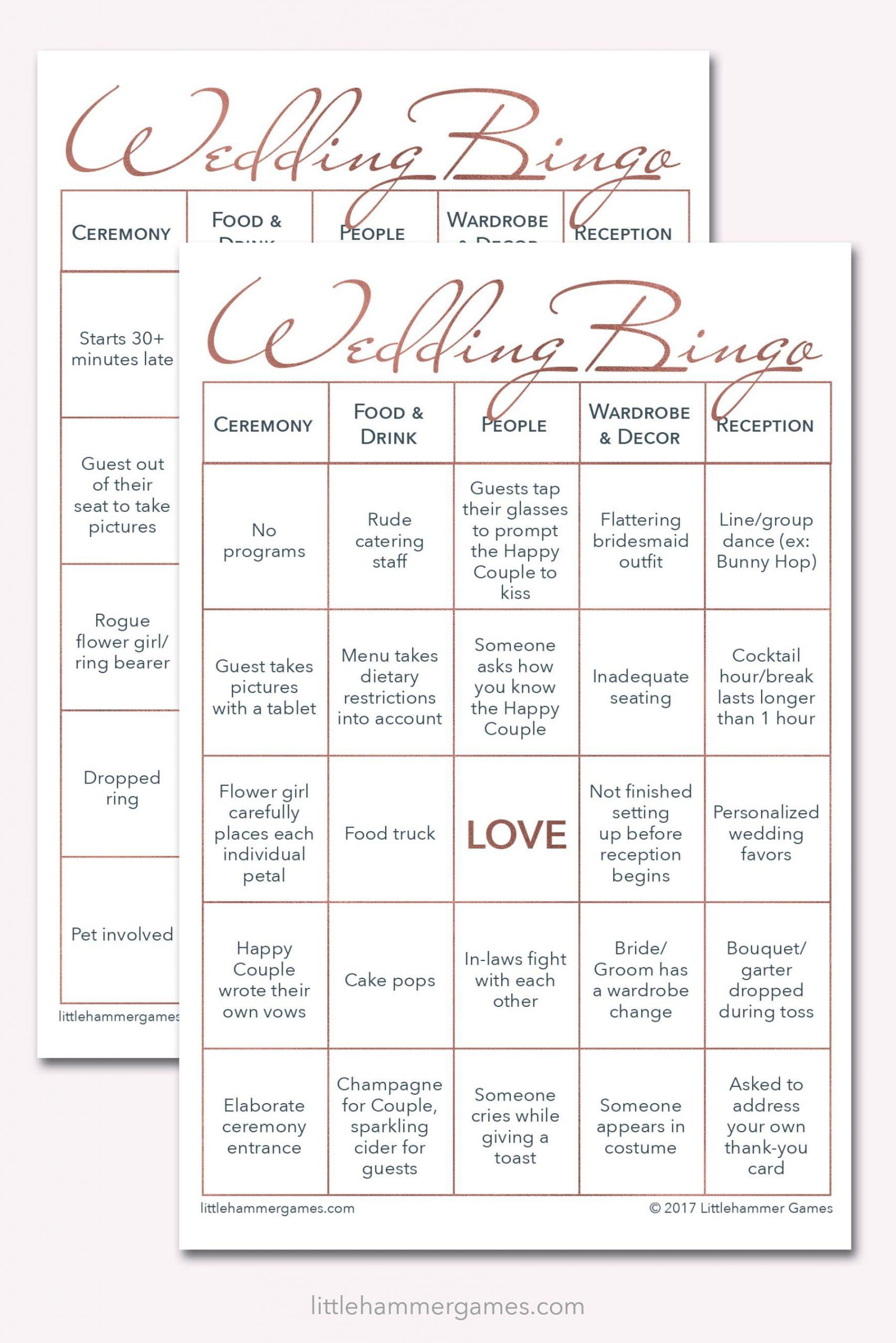 Wedding Bingo - Rose Gold Printable Game Cards | Wedding