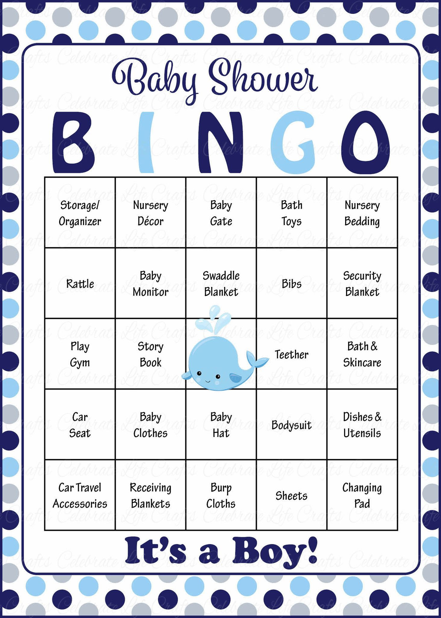 Whale Baby Bingo Cards - Printable Download - Prefilled