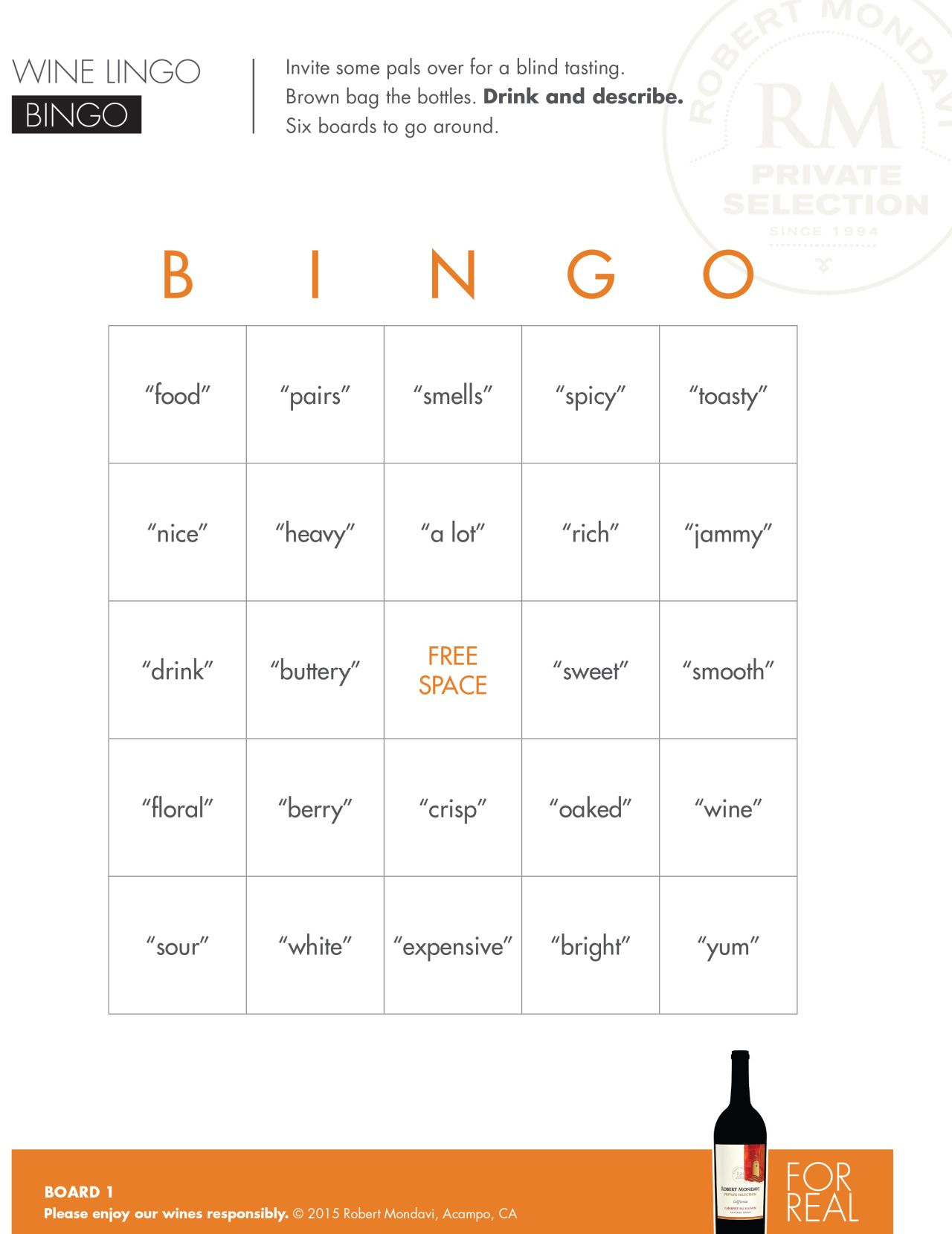 Wine Lingo Bingo | Enjoy Robert Mondavi Private Selection's