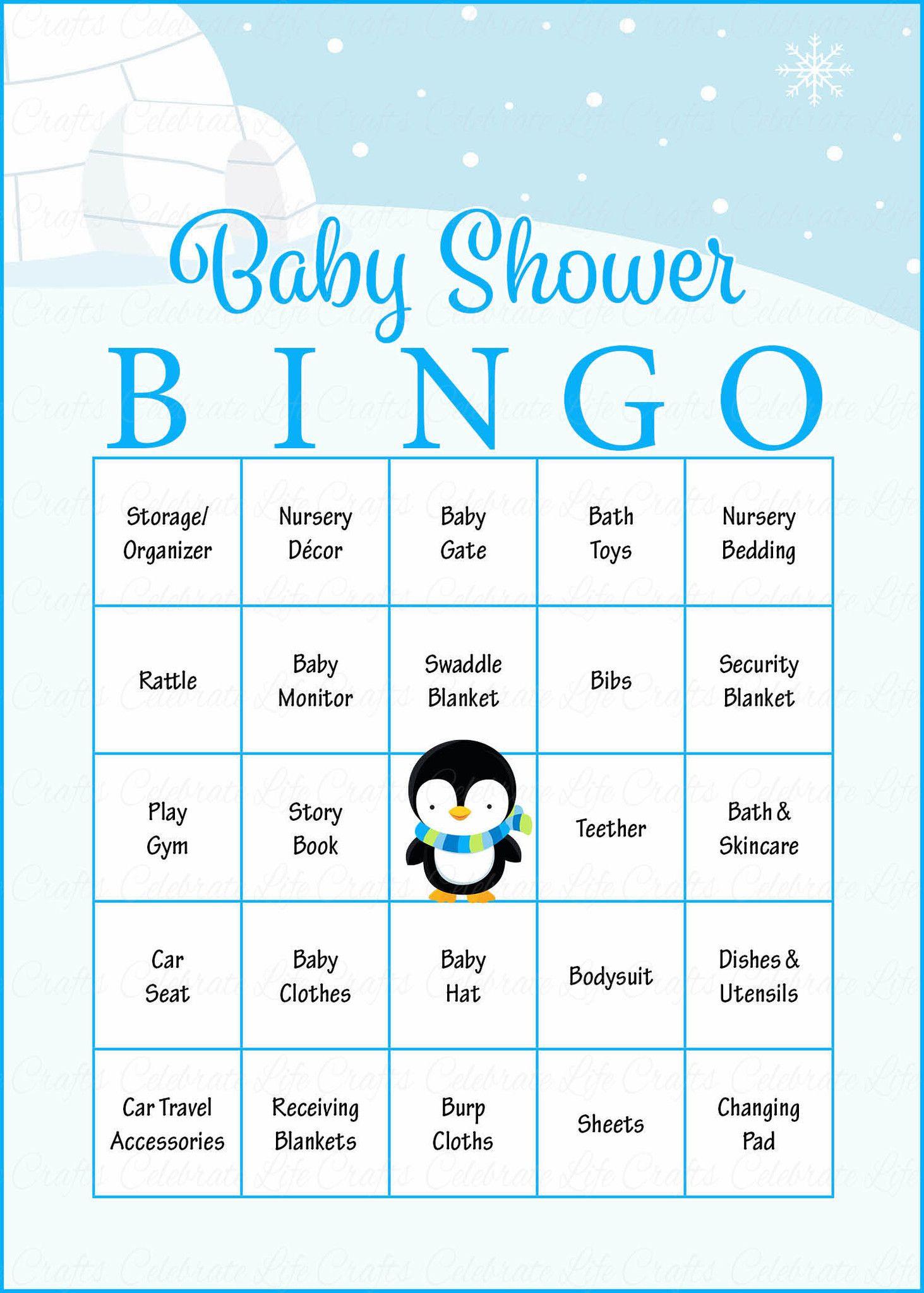 Winter Baby Bingo Cards - Printable Download - Prefilled