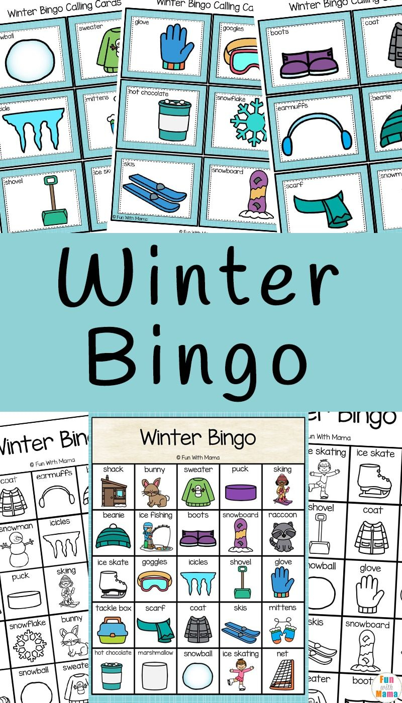 Winter Bingo | Bingo For Kids, Free Printable Bingo Cards