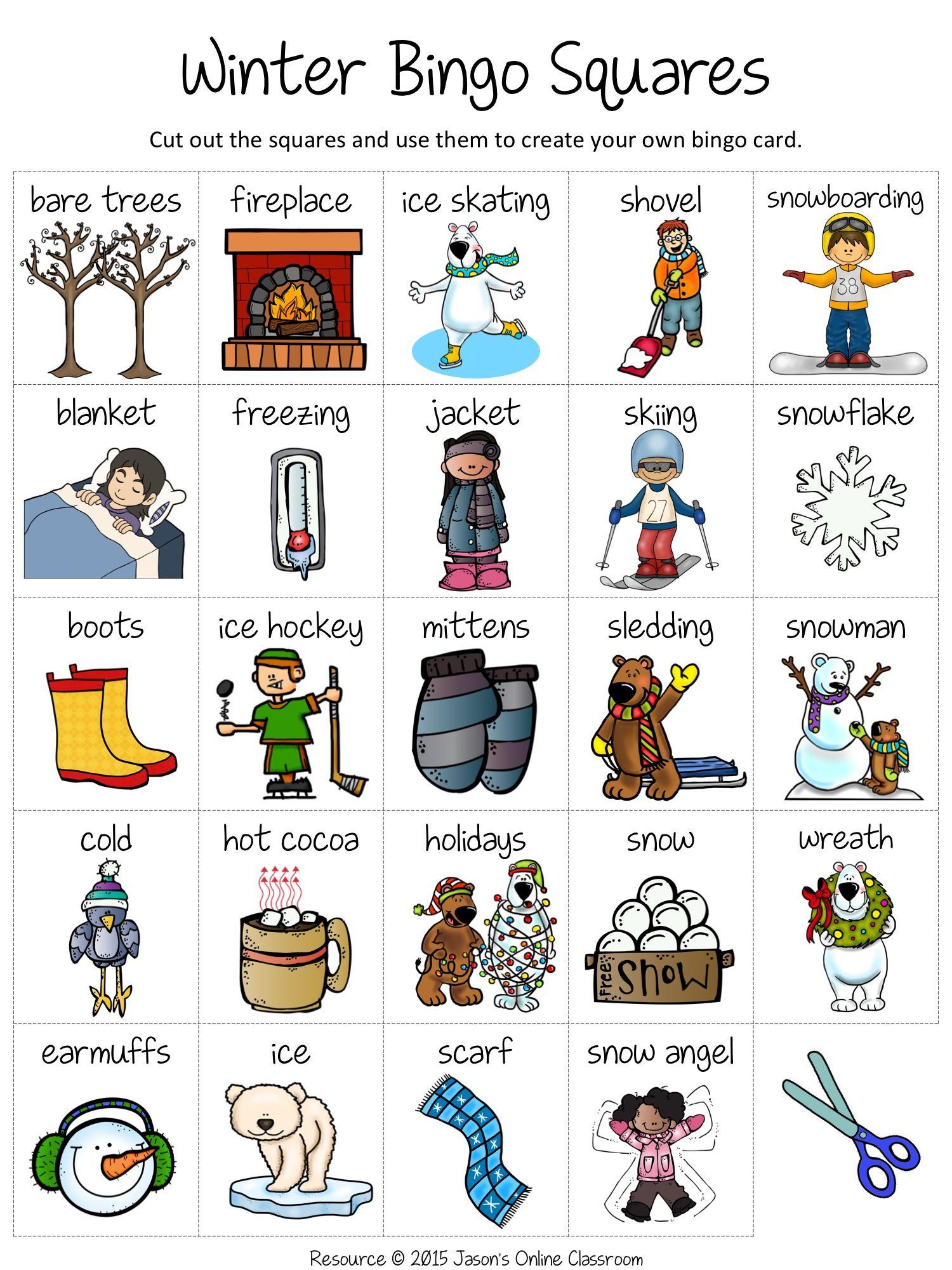 Winter Bingo | Bingo, Winter Words, Bingo Card Template